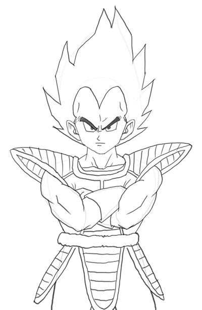 400x614 How To Draw Vegeta