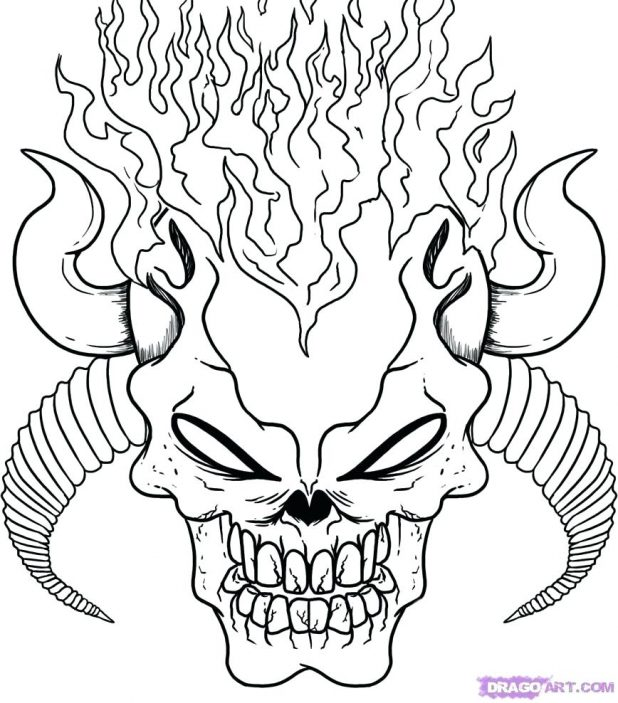 618x703 Interesting Scary Coloring Pages 82 With Additional Line Drawings