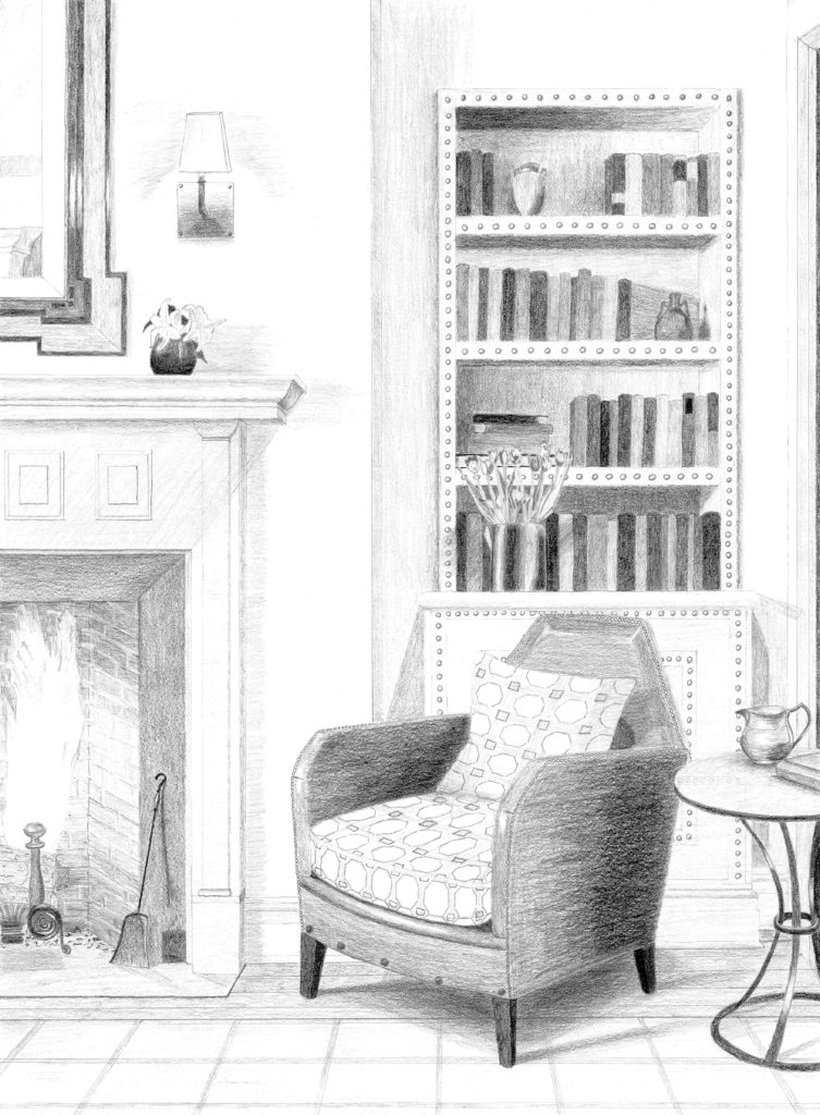 753x1024 Drawing Of Living Room From Architectural Digest Julia Ableson