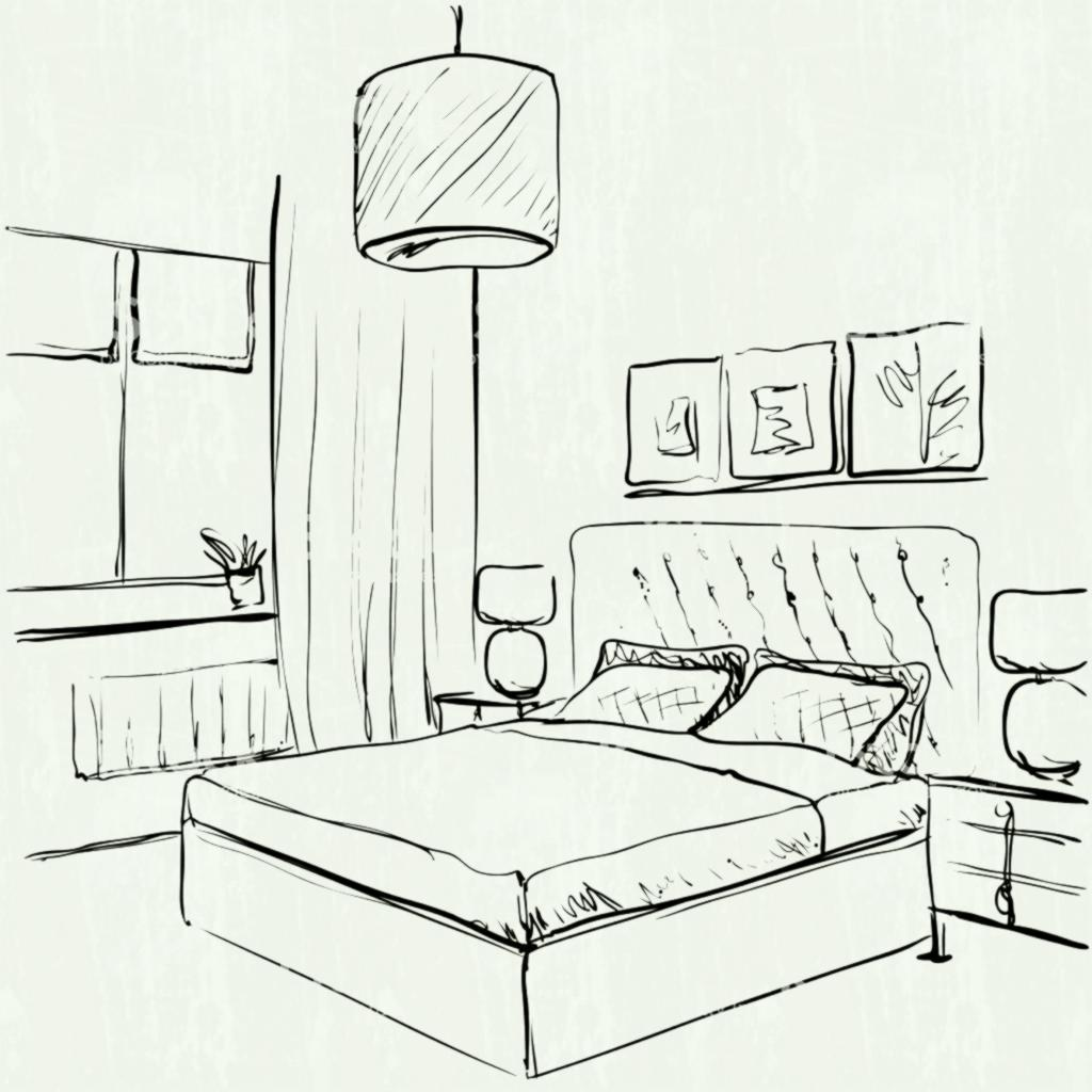 1024x1024 Drawn Bedroom Basic Interior Design Pencil And In Color Room