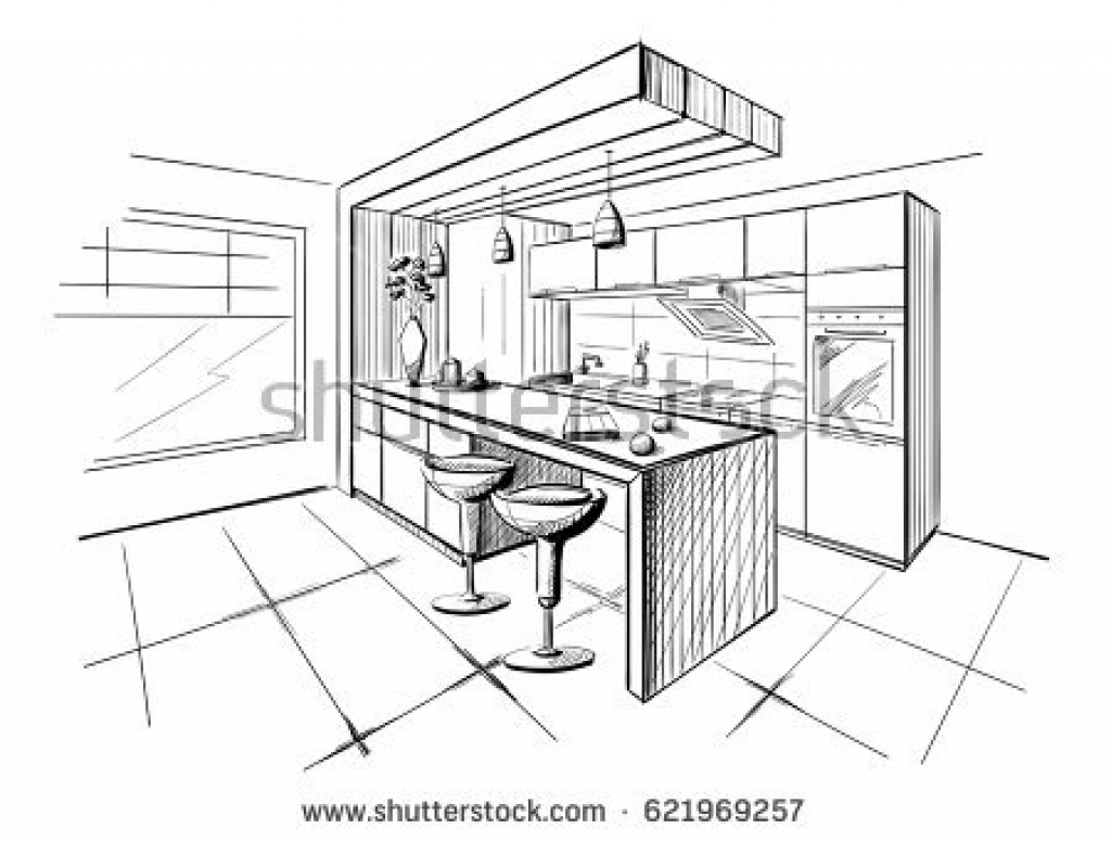 1024x775 Kitchen Design Sketch Kitchen Drawing Stock Images Royalty Free