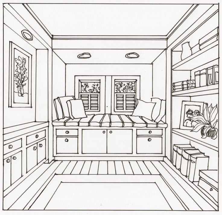 736x713 One Point Perspective Room Interior Drawing