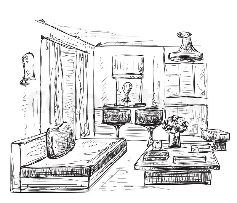 800x686 Interior Room Sketch