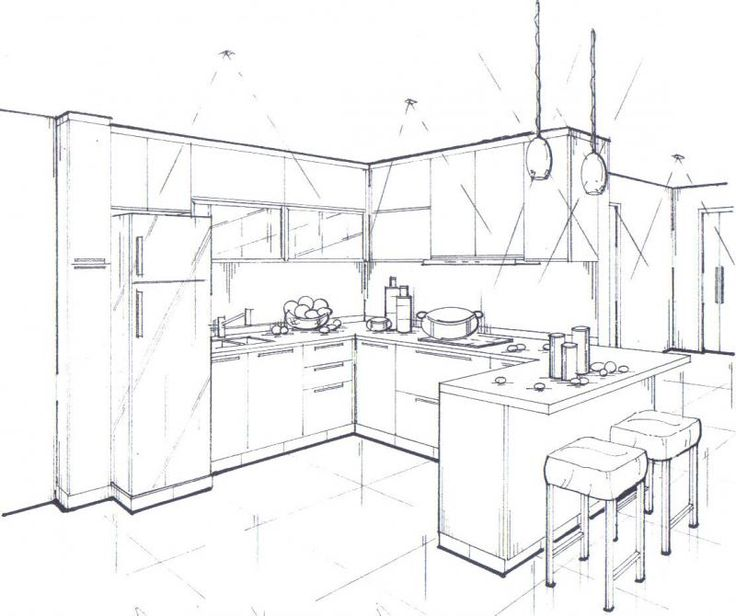 Pencil Sketch Interior Perspective Of A Kitchen