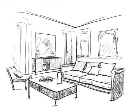 450x385 Kitchen Interior Drawing, Vector Illustration Stock Vector