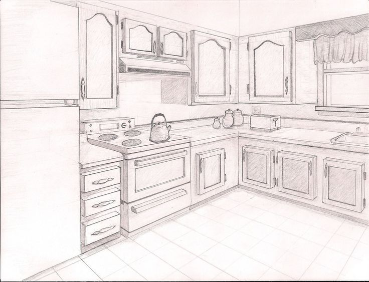 736x563 Living Room Two Point Perspective Drawing Interior Kitchen