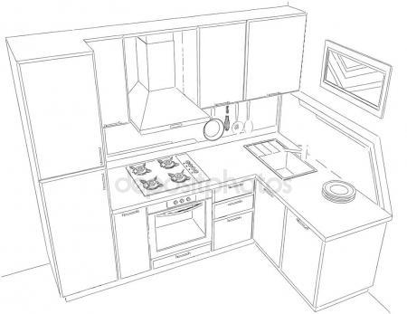 450x347 Modern Corner Kitchen Interior Pencil Drawing. Stock Photo