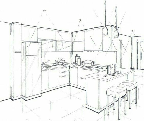 564x472 One Point Perspective Interior Drawing Drawings