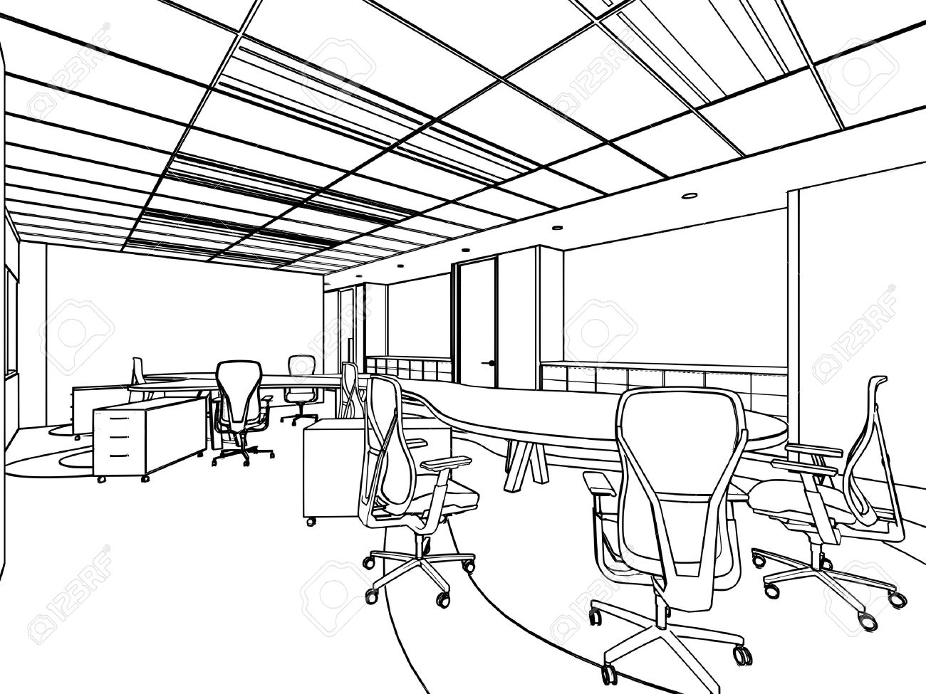 1300x975 Outline Sketch Drawing Of A Interior Space Office Stock Photo