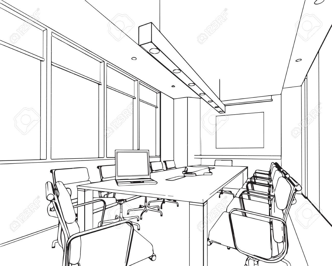 1300x1040 Outline Sketch Drawing Perspective Of A Interior Space Royalty