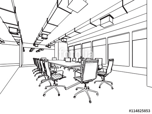 500x375 Interior Outline Sketch Drawing Perspective Of A Space Office