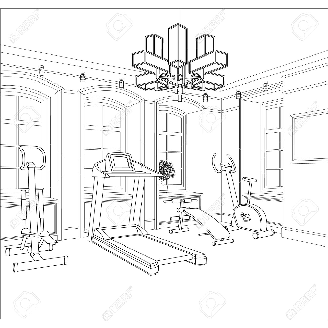 1300x1300 Editable Vector Illustration Of An Outline Sketch Of A Interior