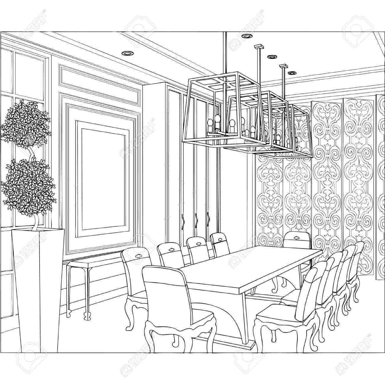 1300x1300 Editable Vector Illustration Of An Outline Sketch Of A Interior 3d