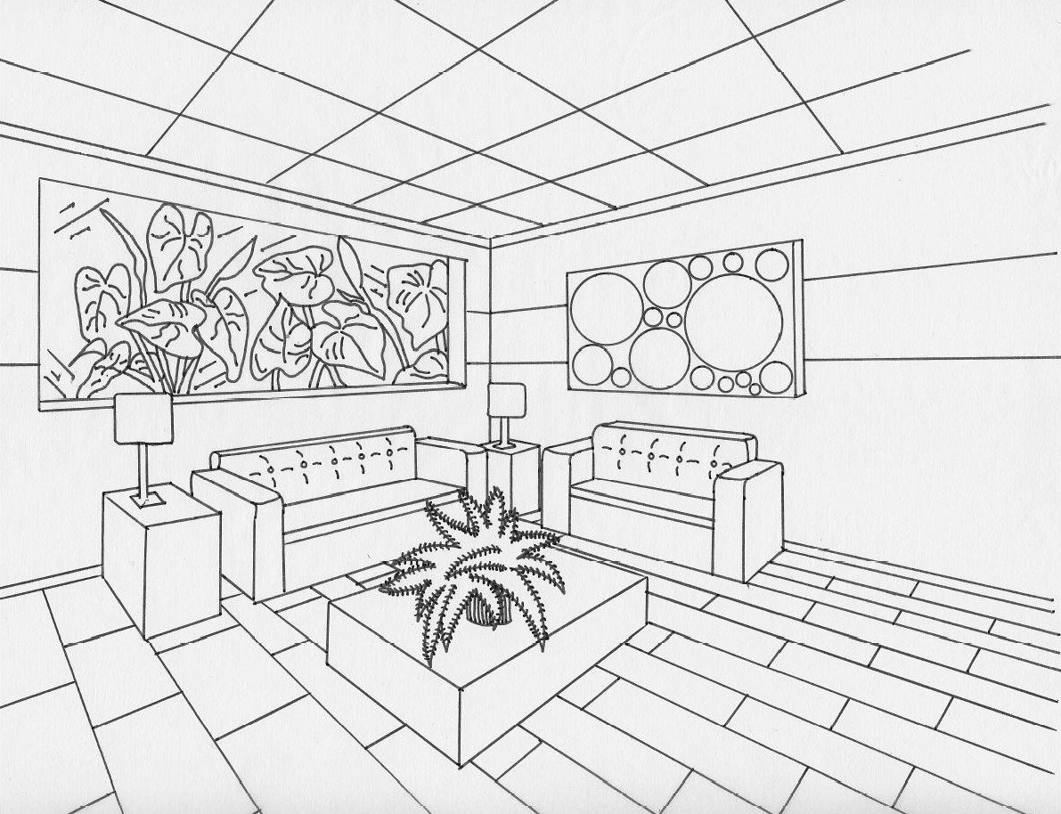 Interior Perspective Drawing At Getdrawings Com Free For
