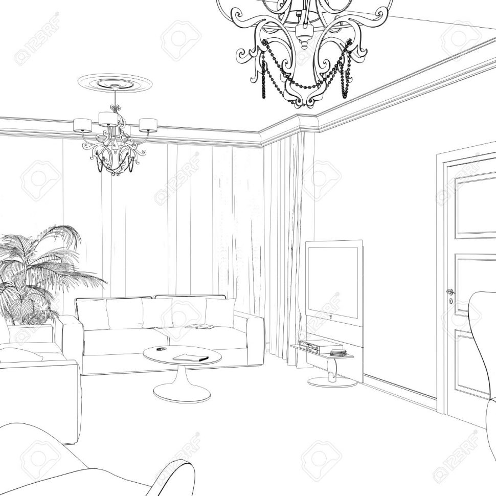 970x970 Living Room Drawing Of Living Room Point Perspective Interior