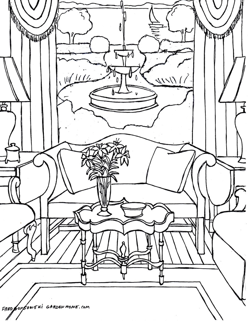 797x1032 One Point Perspective Interior Drawing Hand Living Room Sketch