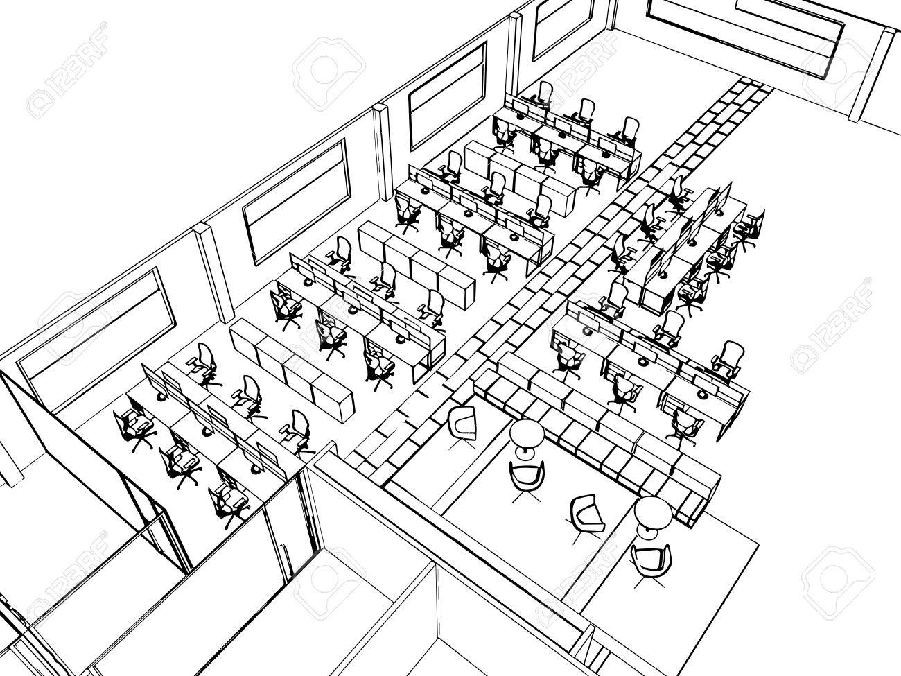 1300x975 Outline Sketch Drawing Perspective Of A Interior Space Office