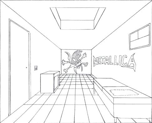 487x393 Bedroom Perspective Drawing In Hell Custom Art Lesson 1 One Point