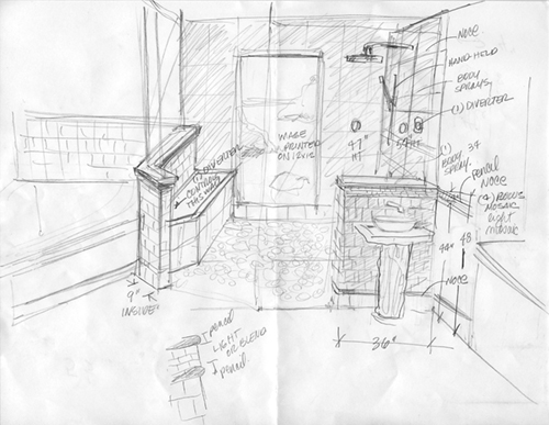500x387 Inspiration Ideas Bathroom Interior Design Sketches With Tiled