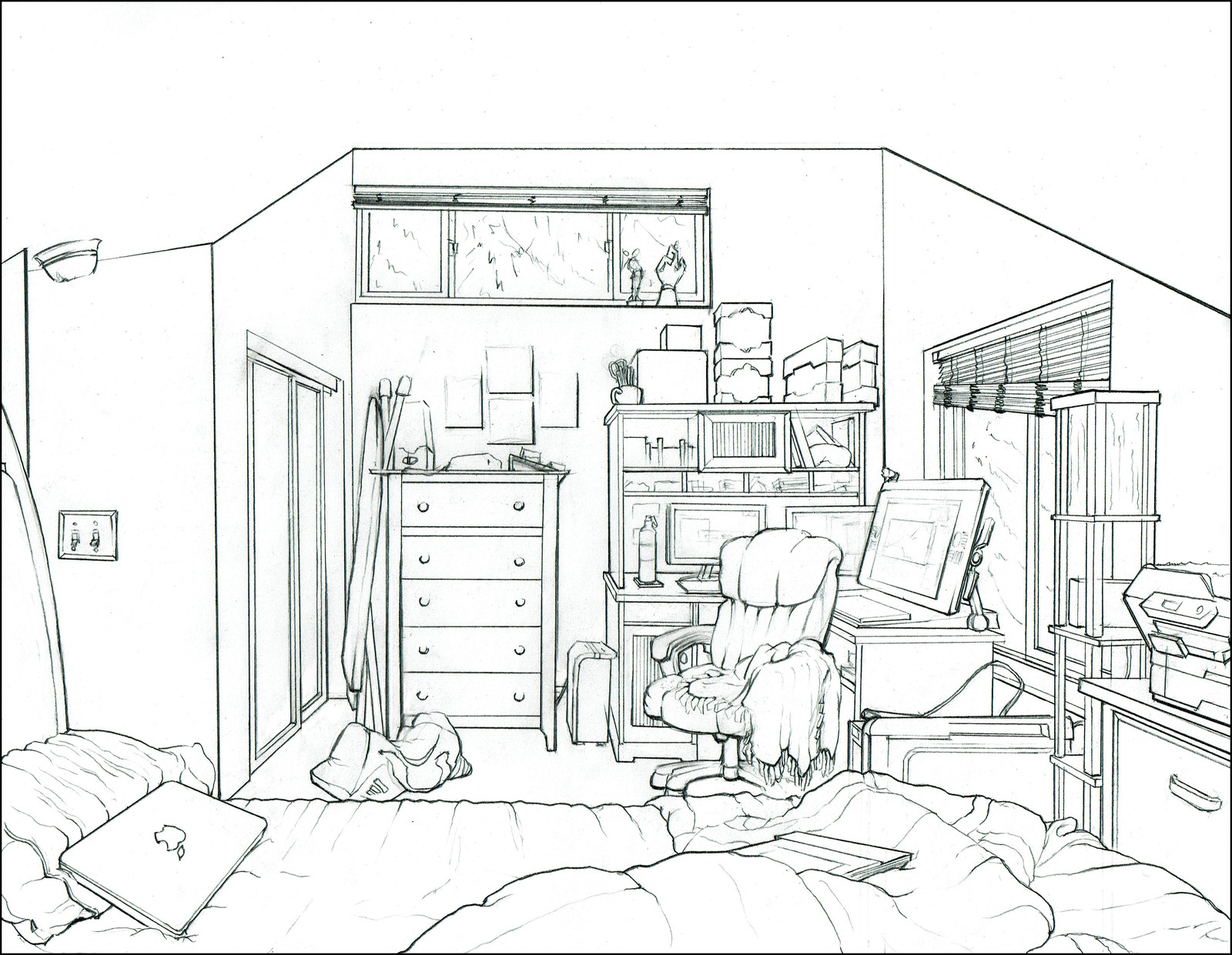 1600x1241 Interior Drawing Of My Bedroom, Charles Wallace On Artstation