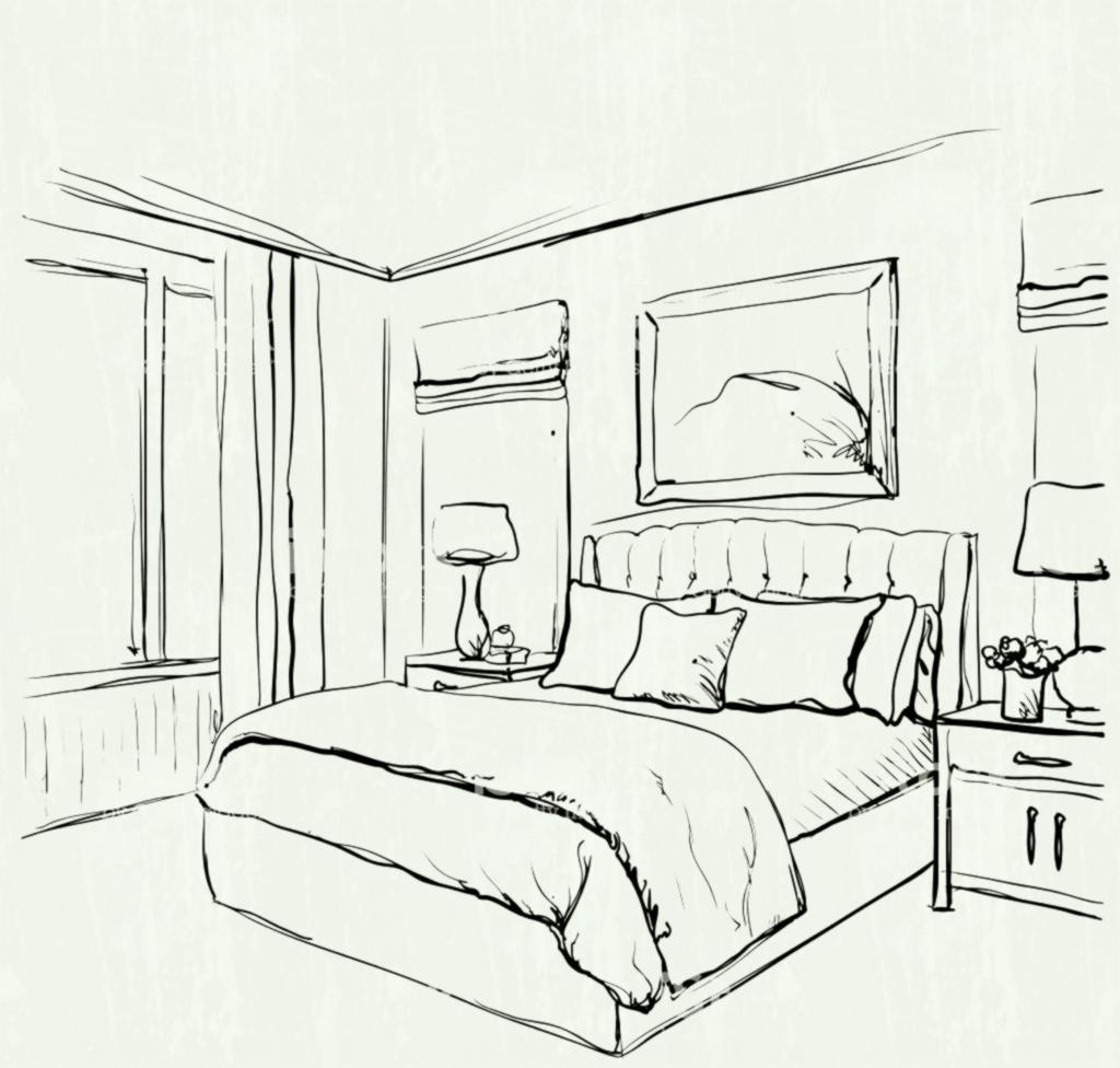 1024x976 Drawing Easy Simple Bedroom Perspective Room E In Inspiration Hand