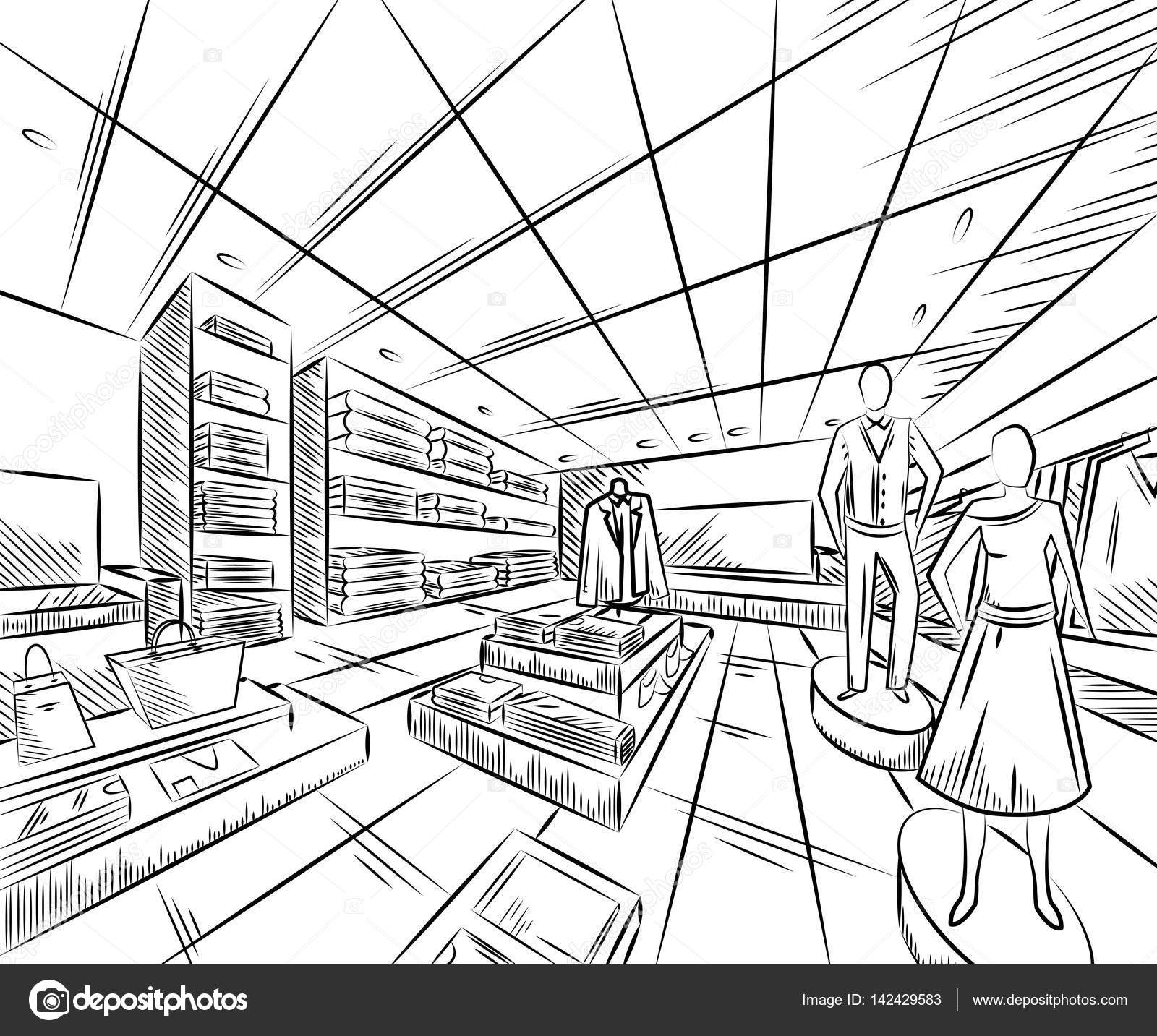 1600x1433 Fashion Store Interior Design In Sketch Style. Vintage Hand Drawn