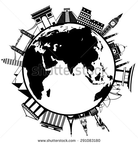 450x470 The Concept Of Traveling Around The World. Famous International