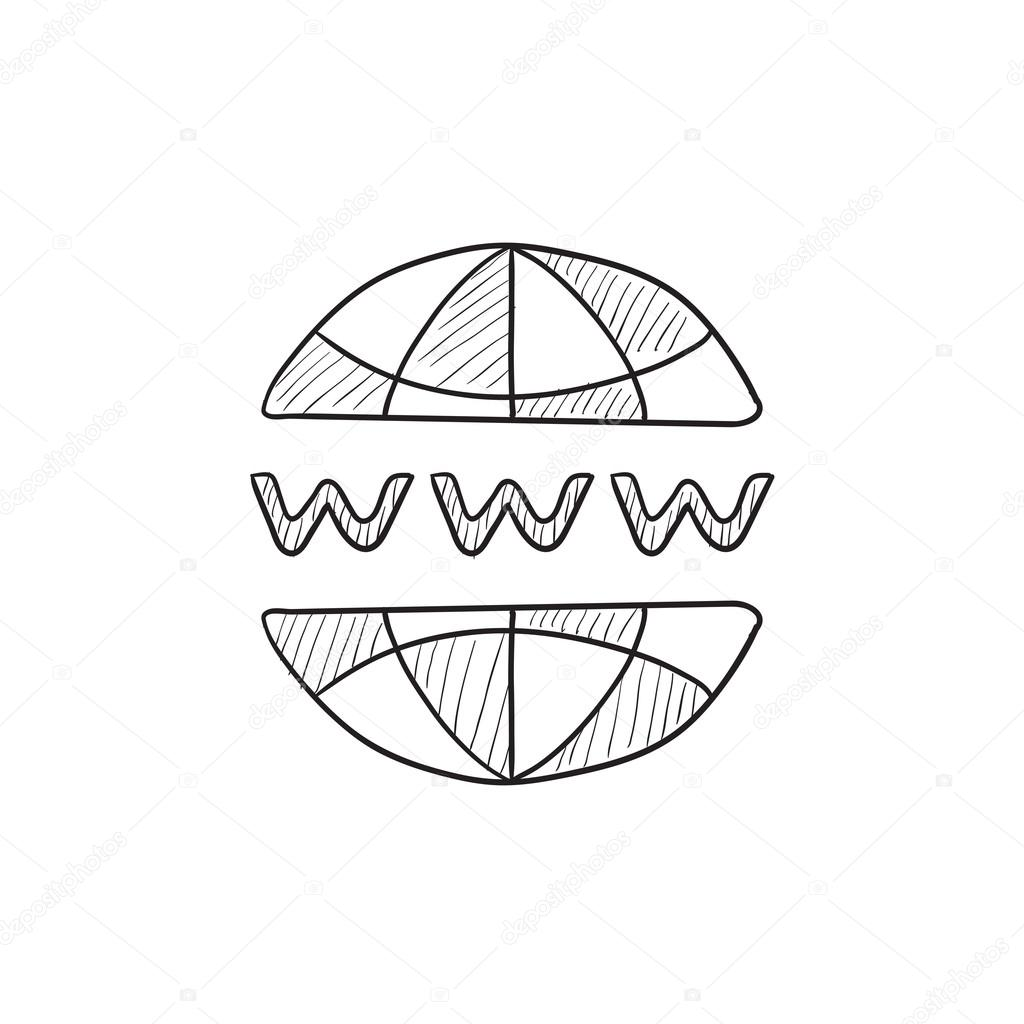 1024x1024 Globe Internet Sketch Icon. Stock Vector Rastudio