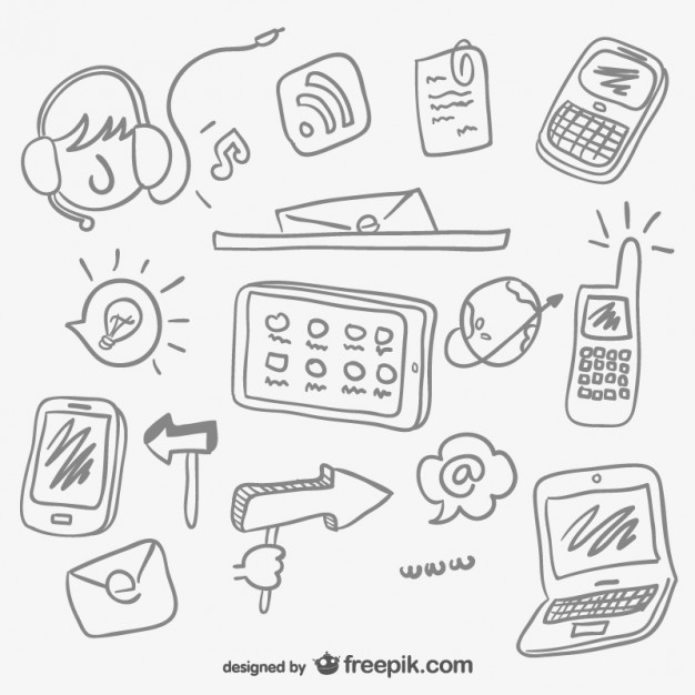 626x626 Internet Elements Sketches Vector Free Download