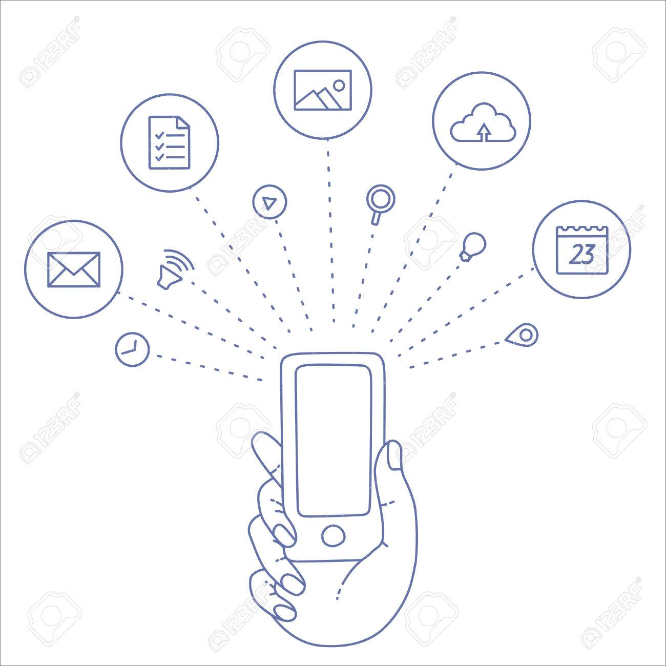 1300x1300 A Set Of Line Drawings Of Hands With Smartphones
