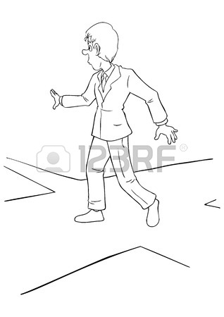 318x450 Cartoon Illustration Of A Businessman At The Intersection Royalty
