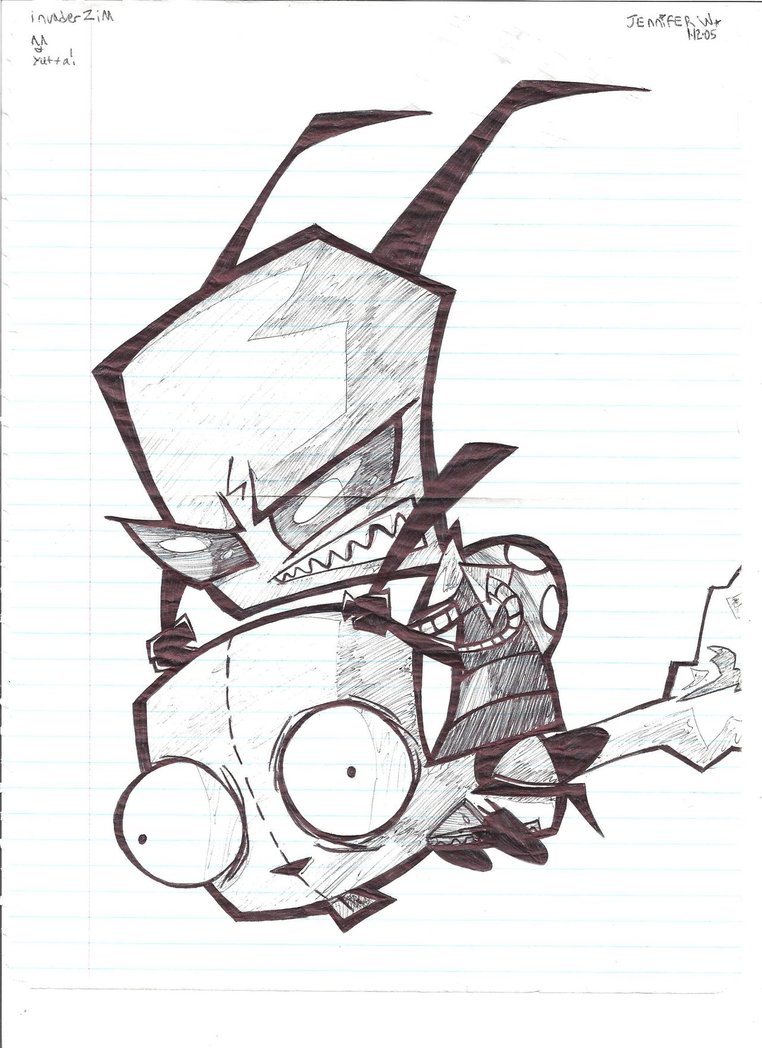 762x1048 Invader Zim Bnw Drawing By ~marimokun On Xtra Stuff