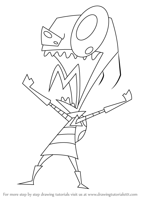 598x844 Learn How To Draw Zim From Invader Zim (Invader Zim) Step By Step