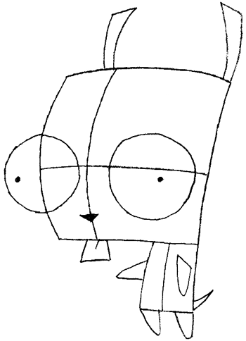 350x484 How To Draw Gir From Invader Zim With Step By Step Drawing Lesson
