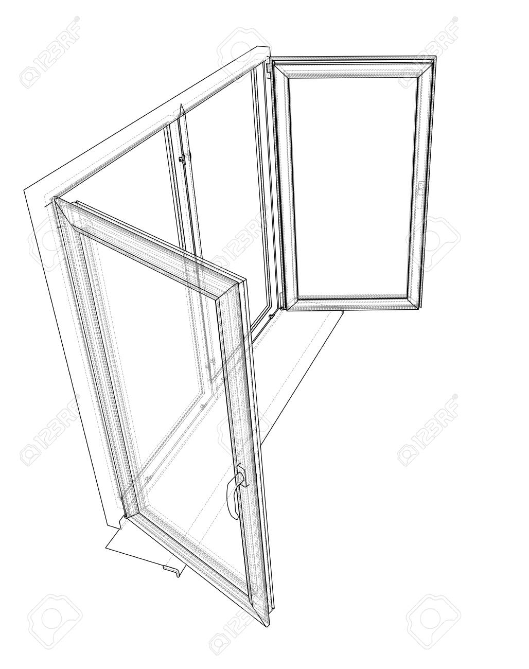 1028x1300 Open Windows Sketch. Vector Rendering Of 3d. Wire Frame Style