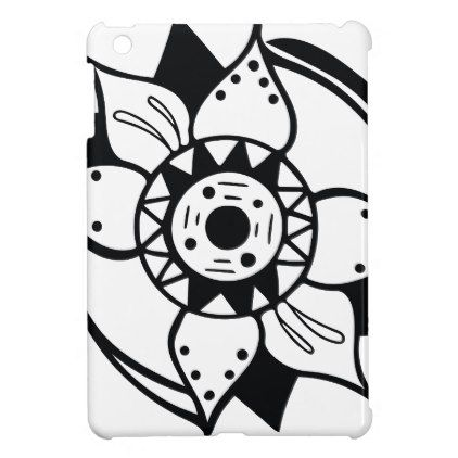 422x422 Monochrome Black And White Flower Drawing Cover For The Ipad Mini