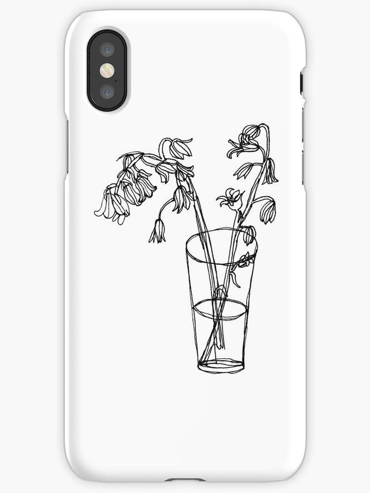 750x1000 Bluebells Continuous Line Sketch Drawing Iphone Cases Amp Skins By