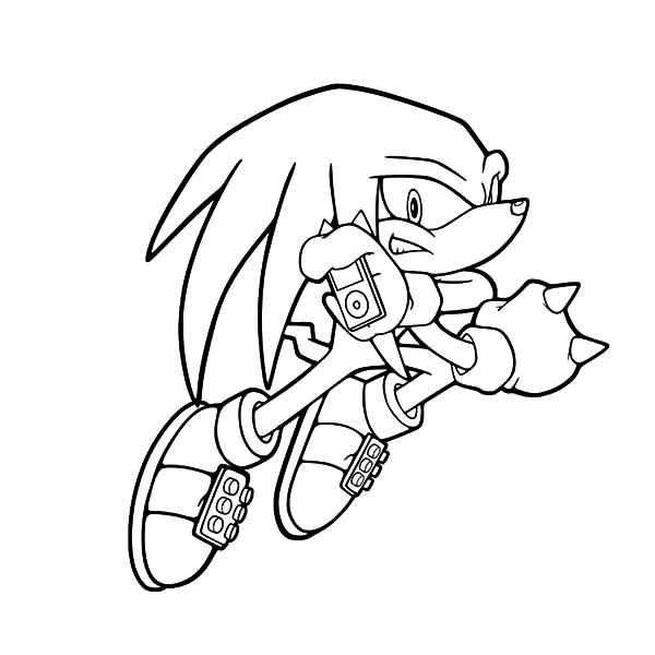600x600 Knuckles Listening To His Ipod Coloring Pages