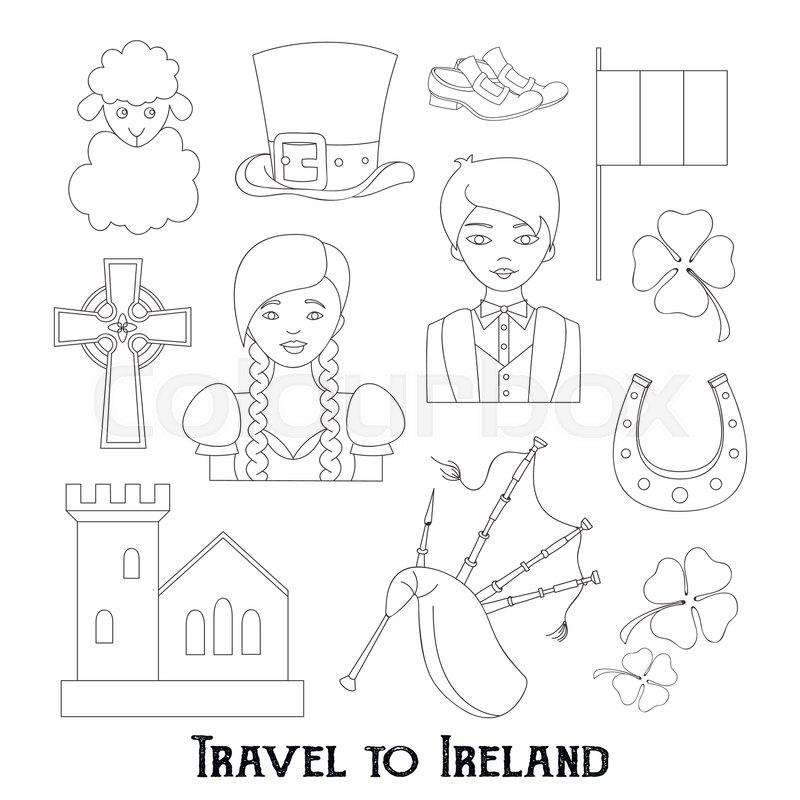 800x800 Hand Drawn Doodle Ireland Set Vector Illustration Sketchy Irish