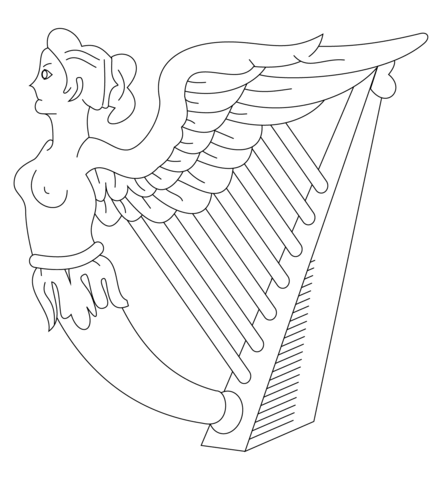 432x480 Harp Of Ireland Coloring Page Free Printable Pages