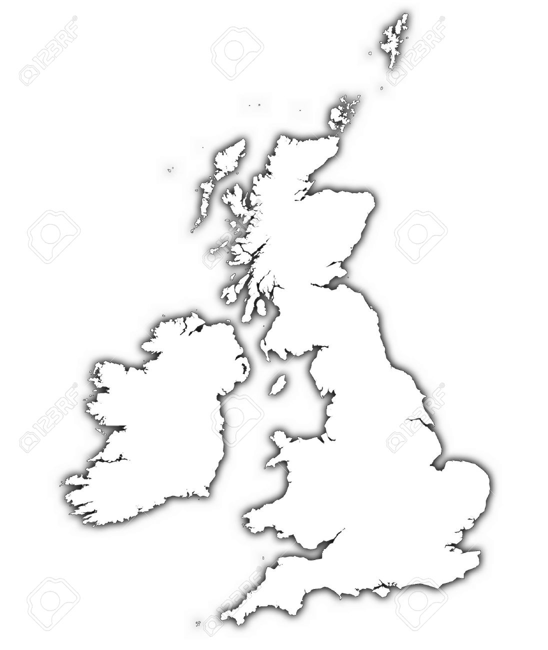 1096x1300 Great Britain And Ireland Outline Map With Shadow. Detailed