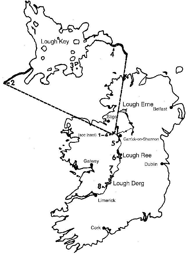 646x889 Map Of Ireland And The Shannon River Drainage Showing Eight Sites