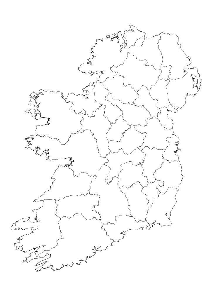Clean image inside printable map of ireland