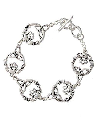 400x500 Irish Claddagh Bracelet C12 Celtic Silver Tone Jewelry