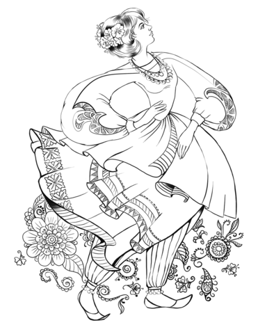 371x480 Dancing Woman In A Folk Costume Coloring Page Free Printable