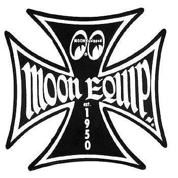 350x350 Moon Black Iron Cross Decal Sticker Rat Hot Rod Gasser Old School