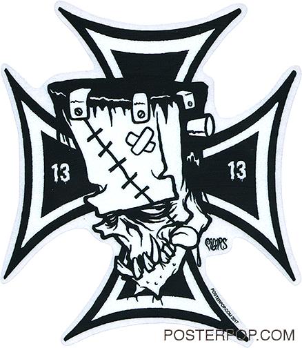 438x504 Pigors Franken Cross Sticker
