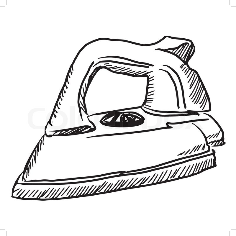800x800 Hand Drawn, Sketch Illustration Of Steam Iron Stock Vector