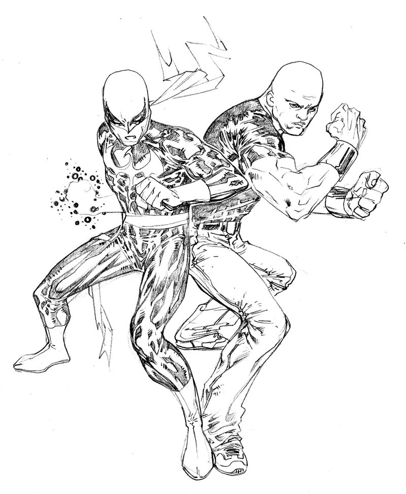 800x972 Iron Fist And Luke Cage By Spiderguile