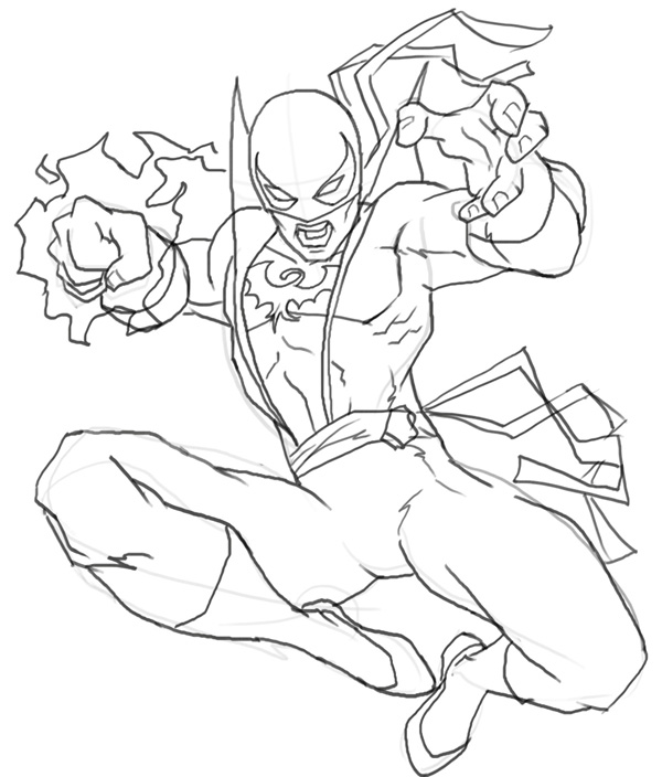 600x704 How To Draw Iron Fist